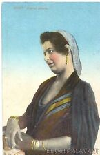 POSTCARD early 1900s Egypt Arabian Beauty Port Said ethnic dress jewelry Africa