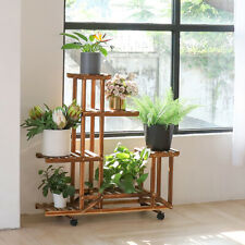 7 Ties Wooden Plant Rack Shelves Stand 4 Wheels for Home Garden Outdoor Living
