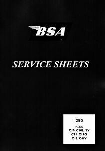 BSA Service Sheets C10 C10L C11 C11G C12 250 cc Workshop Manual Top Quality Book