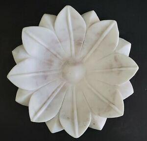 🎁Carved MARBLE LOTUS BOWL~Sculptural Flower Shaped Decorative Plate & Wood Base