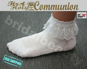 Lace Frill Socks 1st First Holy Communion Baptism Flower Girls Wedding Pageant