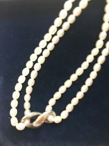 Authentic Tiffany & Co Silver Pearl Infinity Double Strand Necklace!
