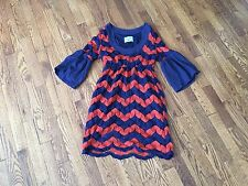 JUDITH MARCH Blue Rust Stretchy Chevron Crochet Lace Bell Sleeves Dress - Sz S