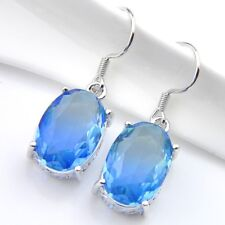 New Arrival Oval Blue Bi-Colored Tourmaline Gems White Gold Plated Hook Earrings