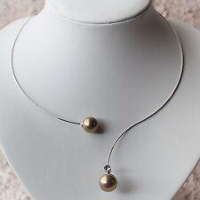 NUOVO maturi Collo Con Perline Strass Colore Argento/Oro/CHIARO COLLANA COLLIER