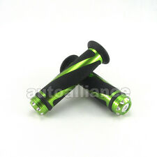 "Pair 7/8"" Motorcycle Dirt Bike Scooter Rubber CNC Green Handlebar Gel Hand Grip"
