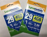 LYCAMOBILE Prepaid Sim Card $29 Plan 2 Pc Preloaded Text Talk 5Gb Data Intl Call