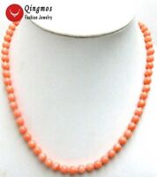 """6-7mm Round Natural Pink Coral Necklace for Women 17"""" Chokers Jewelry nec4107"""