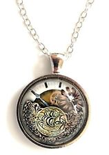 "Steampunk glass necklace 22"" ship on coin silver tone gift idea #57"