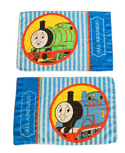 Vintage Lot Of 2 Thomas The Train And Friends Standard Pillow Case Cotton Blend