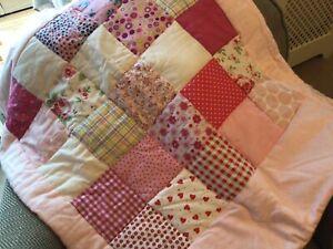 Handmade Pink patchwork Quilt/ Playmat. Approx96 cms X 74 Cms Approx