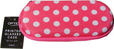 MATERIAL SEMI RIGID GLASSES SPECTACLE PROTECTIVE CASE PINK WITH WHITE POLKA DOTS