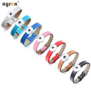 Genuine Leather Charms Snap Bracelet Fit 18mm Snap Button Snap Jewelry SZ0564