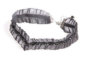 Elegant Women 20's Look Wide Elastic Choker w Black Beads (S511)