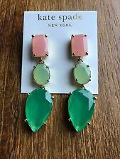 NEW Kate Spade New York Gumdrop Pink Green Three Stone Long Dangle Earrings $98