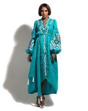 Embroidered turquise dress boho - ukrainian folk ethnic vyshyvanka. All sizes