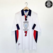 1997/99 BECKHAM #7 England Vintage Umbro Home Football Shirt (XL) 1998 World Cup