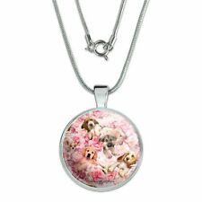 """Puppies Dogs Pink Flowers Pattern 1"""" Pendant with Sterling Silver Plated Chain"""