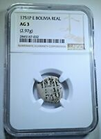 1751 Spanish Bolivia Silver 1 Reales NGC Graded Antique Colonial Pirate Cob Coin