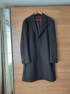 Mens Zara Brown Wool Blend With Cashmere Overcoat/City Coat Size Large