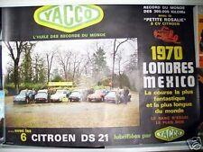 Affiche Originale Londres Mexico 1972 Citroen DS 21 Yacco  - 76 x 58 cm