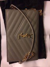 Yves Saint Laurent YSL Black Leather Monogram Wallet on Chain Crossbody/Clutch