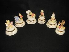 Set of 6 LENOX Disney Winnie the Pooh Hinged Treasure Trinket Boxes Charms Ivory