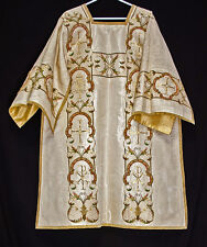 Antique DALMATIC Raised Gold Embroidery Deacon Vestments Church Clergy Tunicle