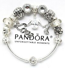PANDORA Charm Bracelet Sterling Silver MOM ANGEL White European Charms NIB