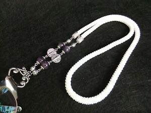 Handmade White  bead crochet chain for glasses with amethyst 31 inch