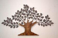 Wanddekoration Baum Wanddeko Deko Massivholz Metall braun Blätter design modern
