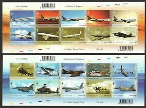 SINGAPORE 2003 AVIATION AIRCRAFT SERIES CIVIL & MILITARY 2 X SELF ADHESIVE SHEET