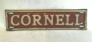 Vintage 1930s-40s Cornell University Bears License Plate Topper Metal Sign