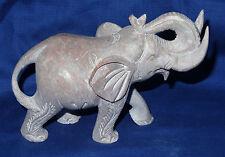 "4"" Hand Carved Gorara Marble Quartz Stone Elephant Figure Figurine Statue Gifts"