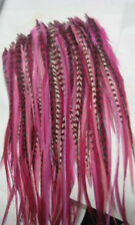 "Five 4""- 6"" Pink with Grizzly and Brown Feathers For Hair Extension"