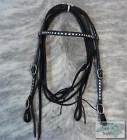 Showman BLACK Leather Western Buck Stitched Headstall w/ Reins! MADE IN THE USA!