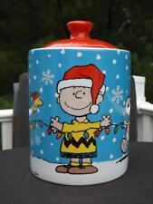 Peanuts Snoopy Charlie Brown Woodstock Christmas Cookie Jar Gibson MINT