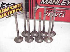 "8 Manley 11/32"" Titanium Exhaust Valves 5.550"" Long 1.600"" Head 18° SB Chevy"