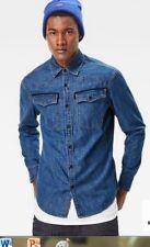 G-Star Raw 3301 Medium Indigo Aged Denim Shirt Men's  XXL D02980 D013 602