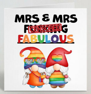 Mrs And Mrs F****** Fabulous Lesbian Cute Wedding Engagement Anniversary Card