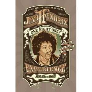 """JIMI HENDRIX EXPERIENCE POSTER - ONE NIGHT ONLY 1967 - 91 x 61 cm 36"""" x 24"""""""