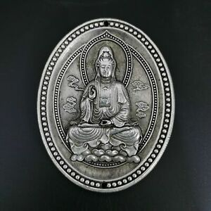 China's old Tibet silver Engraving patterng Guanyin Amulet pendant