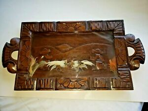 """Vintage Carved Wood/Glass Top Tray Birds Feathers Fighting Cocks 21"""" x11"""""""