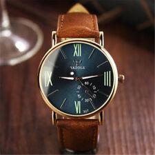 Men's Watch Date Leather Sport Quartz Noctilucent Wrist Watch Stainless Steel