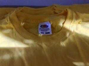 12x fruit of the loom  valueweight kids tshirt yellow 9-11yo job lot