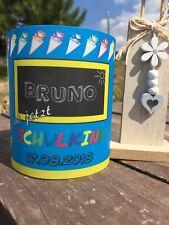 4 x Tischlicht Schuleingang Blau Gelb Windlicht Einschulung mit Name, Datum