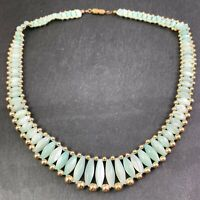 VINTAGE BEADED COLLAR NECKLACE DYED BABY BLUE MOTHER OF PEARL SHELL BEADS