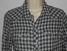 Western Blouse Lucky Brand Womens S 6-8 Cowgirl Top Black Plaid Gauze Shirt 4w26