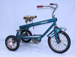 VTG AMF Junior Trike Atomic Age MCM Teal Toy Steel Rocket Prototype Tricycle GUC