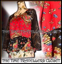 RIVER ISLAND CHELSEA GIRL RED FLORAL SILKY LACE VINTAGE 80s 3/4 SLEEVE TOP UK12